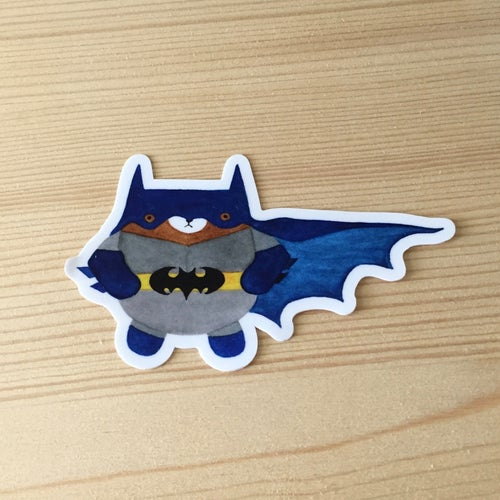 Image of crazy cat + bat bear vinyl stickers
