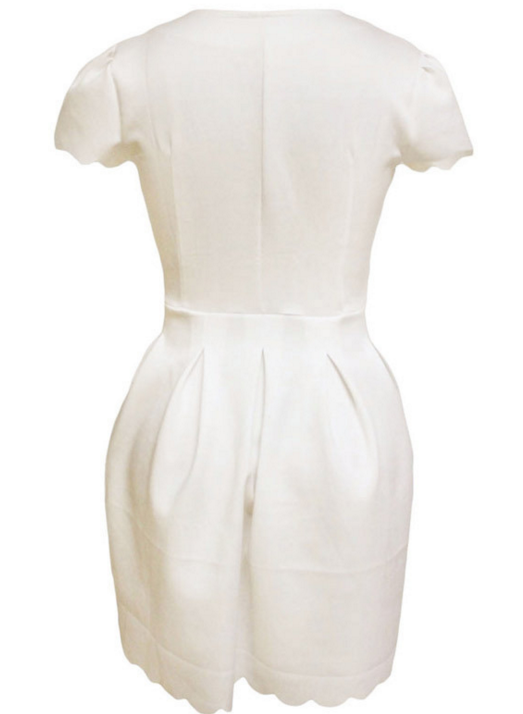 Image of V-neck short sleeve pleated dress