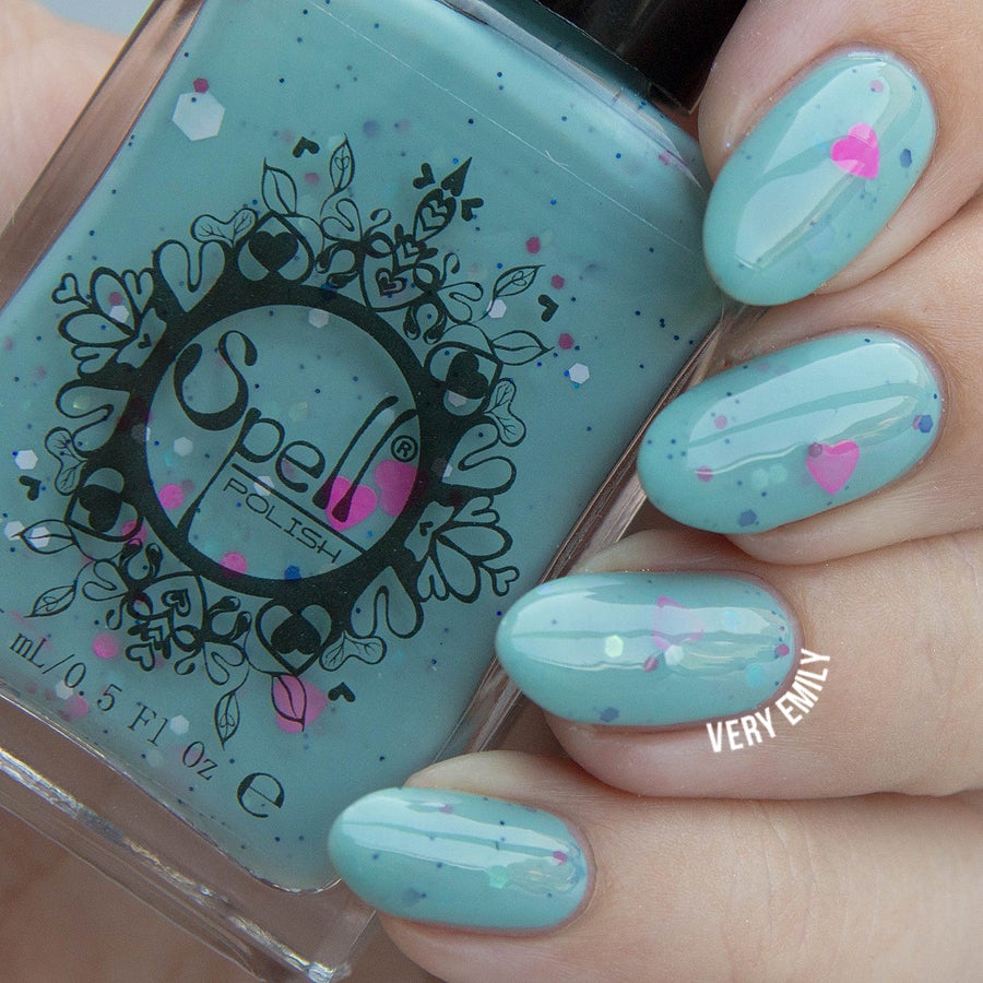 "Image of ~Clue in the Canopy~ milky blue jade crème glitter Spell nail polish ""Dollhouse Mischief""!"