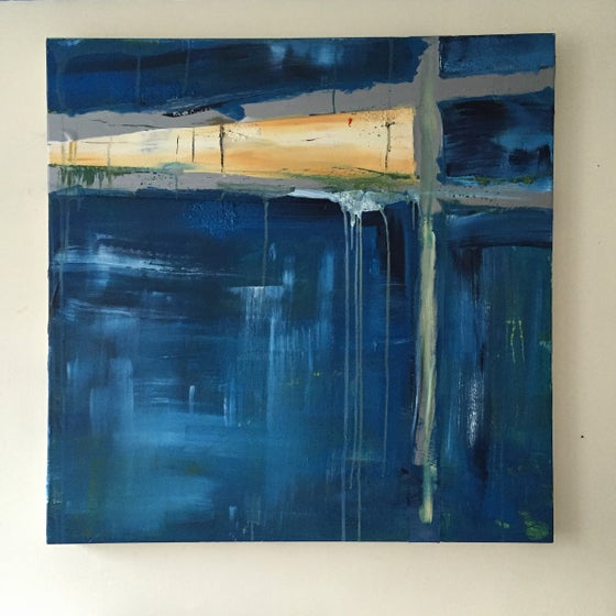 Image of SHELTER #1  - Acrylic on canvas with tape, 80 x 80cms
