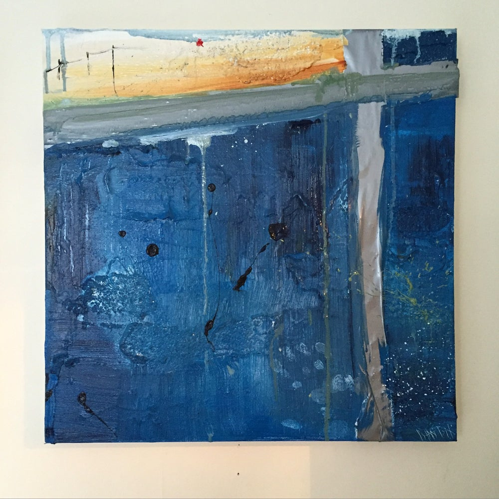 Image of SHELTER #4 - Acrylic on canvas with tape, 40 x 40cms