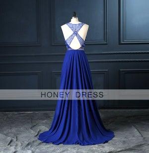 Image of Royal Blue Chiffon Sleeveless Prom Dress With Beaded Bodice
