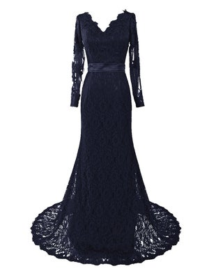 Image of Designer Navy Blue Lace Long Sleeves Mermaid Evening Gown With V Back
