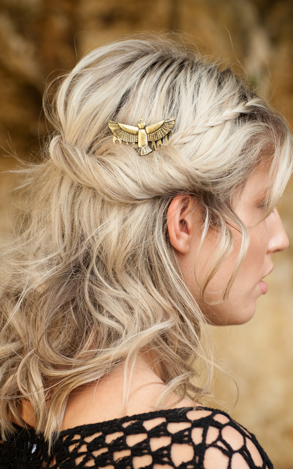 Image of Falcon Hair Comb Gold or Silver