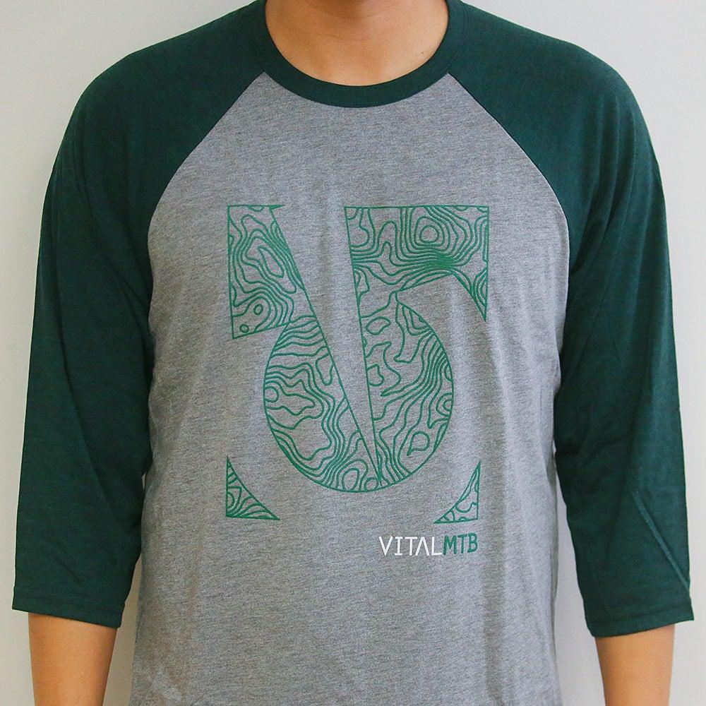 Image of Vital MTB Topo 3/4 Sleeve T-Shirt, Grey/Emerald