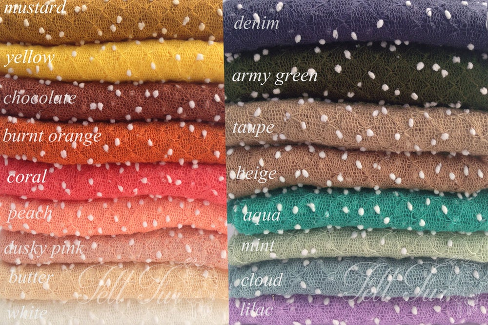 Image of Small Newborn stretch wrap photo prop, bubbles stretch wrap prop, dots knit baby layer