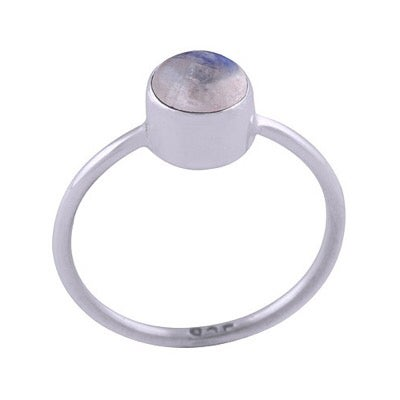 Image of Sterling Silver & Rainbow Moonstone Lo Ring