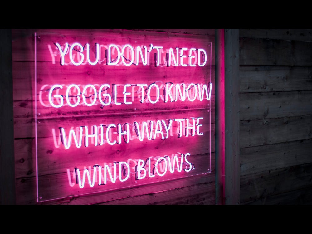 Image of You Don't Need Google To Know Which Way The Wind Blows Neon