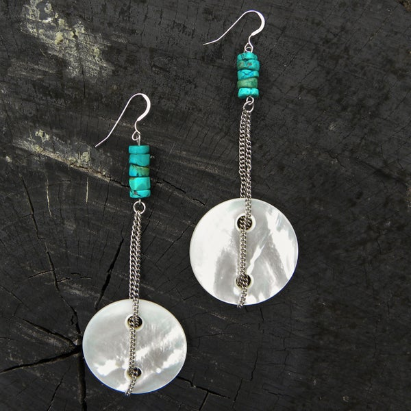 Image of mother of pearl & vintage turquoise