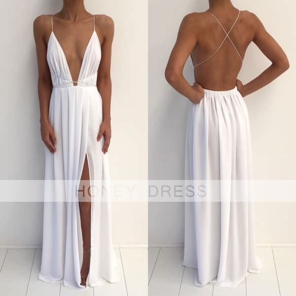 White Chiffon V Neck Backless Open Back Evening Dress With Slit