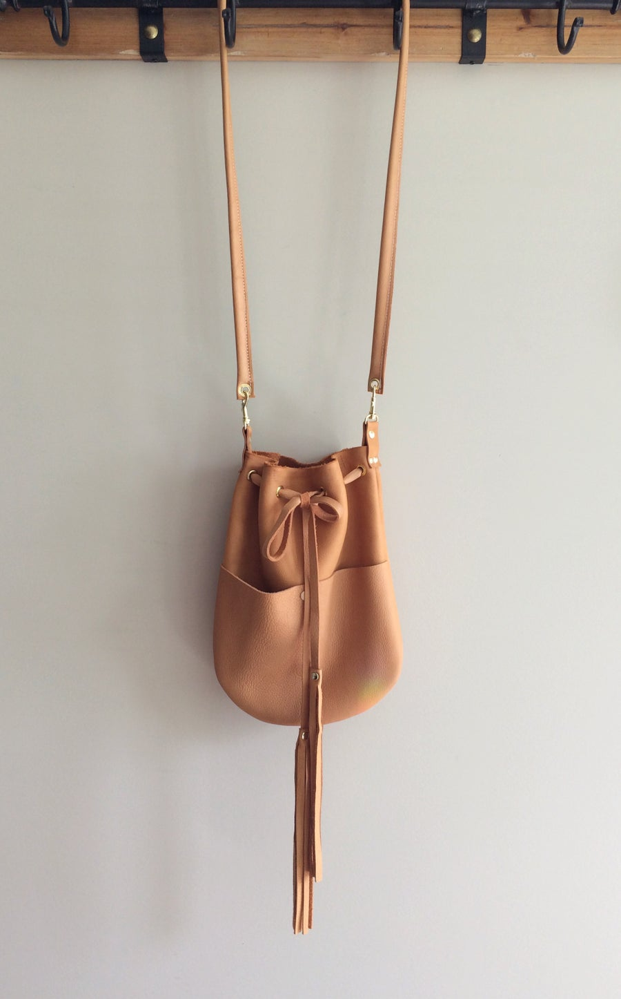 Image of oversized cognac Elsie crossbody