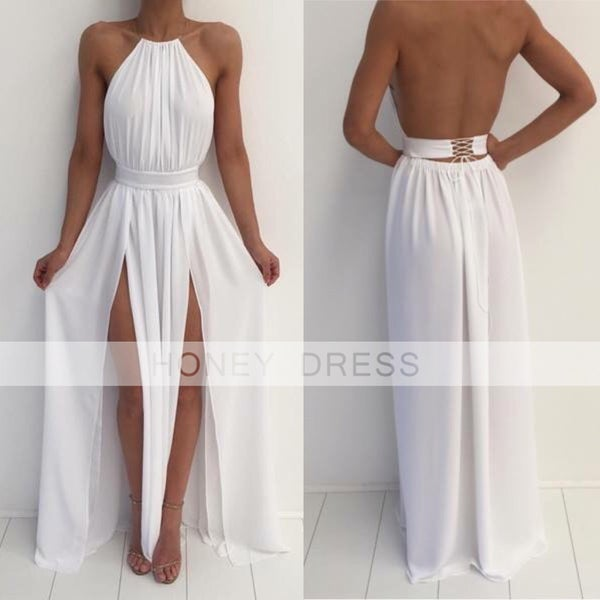 Image of White Chiffon Nude Halter Slit Open Back Prom Dress With Lace Up
