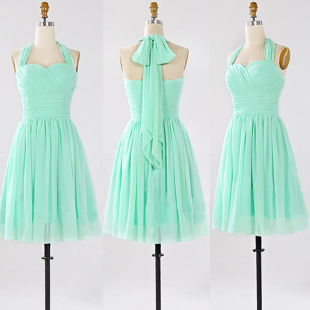 Lovely mint chiffon halter short bridesmaid dresses bridesmaid image of lovely mint chiffon halter short bridesmaid dresses bridesmaid dresses 2017 ombrellifo Image collections