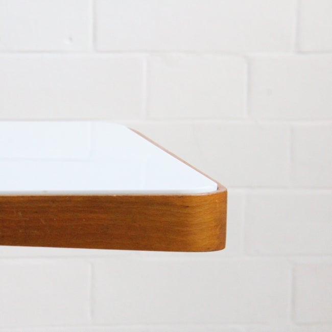 Image of Czech console table with white glass