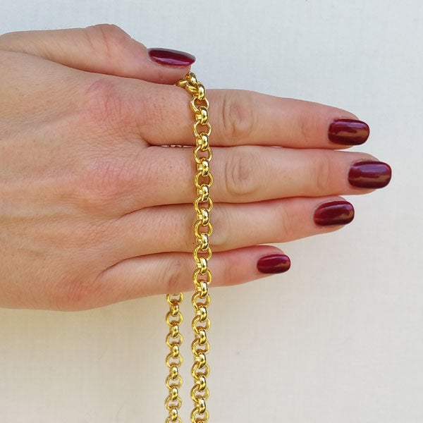 """Image of GOLD Chain Luxury Strap - Classic Rolo Chain - 1/4"""" (7mm) Wide - Choose Length & Clasps"""