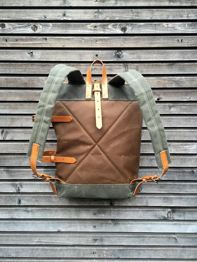 Image of Waxed canvas backpack with detachable leather side straps and padded shoulder straps