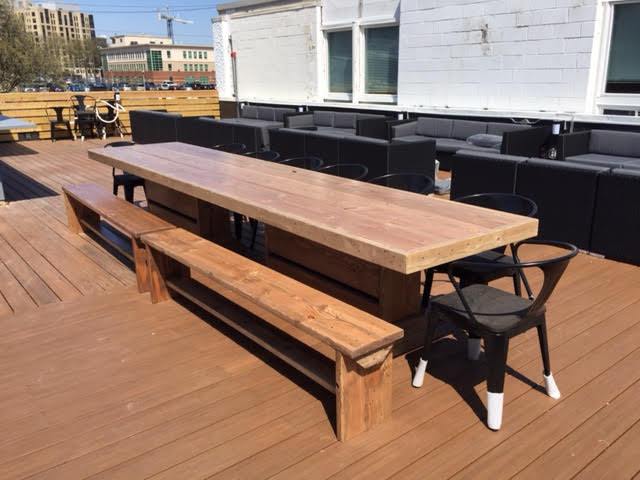 Image of 12' PATIO SET / OUTDOOR DINING TABLE WITH BENCHES