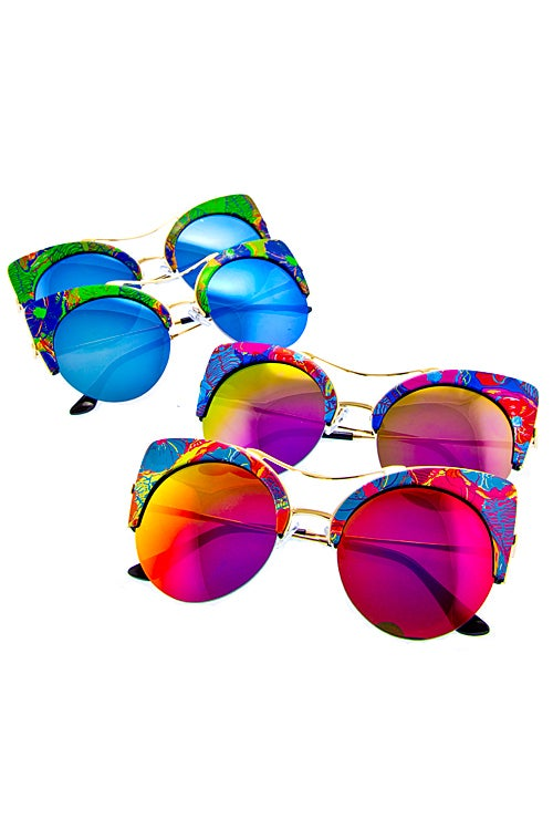 Image of Floral high temple half rimmed Sunglasses