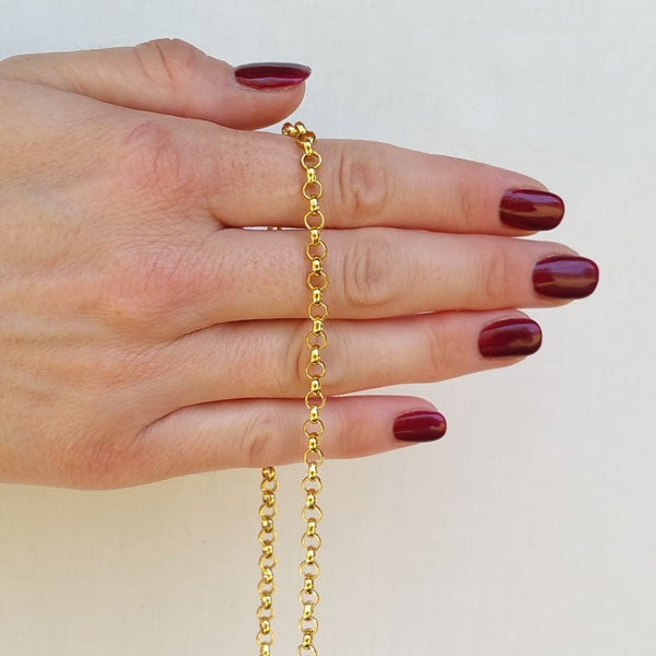 """Image of GOLD Chain Luxury Strap - Classic Rolo Chain - Extra Petite - 3/16"""" Wide - Choose Length & Clasps"""