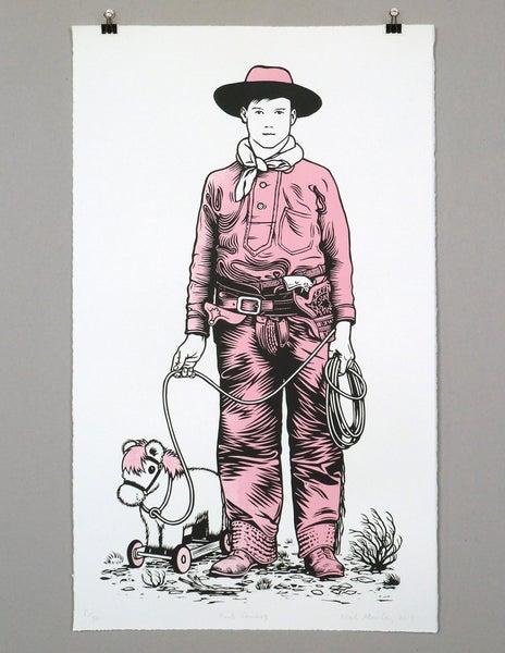 Image of Pink Cowboy linocut print