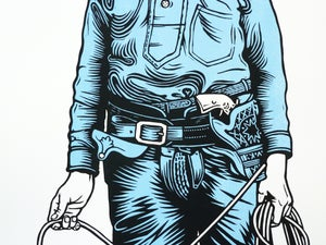 Image of Blue Cowboy linocut print