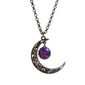 Image of Filigree Moon and Galaxy Charm Necklace - Colour Options Available