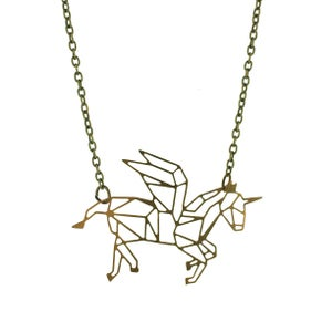 Image of  Geometric Unicorn charm necklace