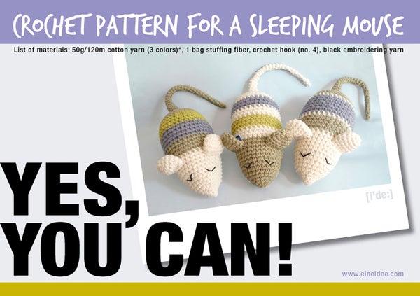 """Image of Crochet Pattern for a """"Sleeping Mouse"""" / Häkelanleitung für eine """"Schlafmaus"""""""