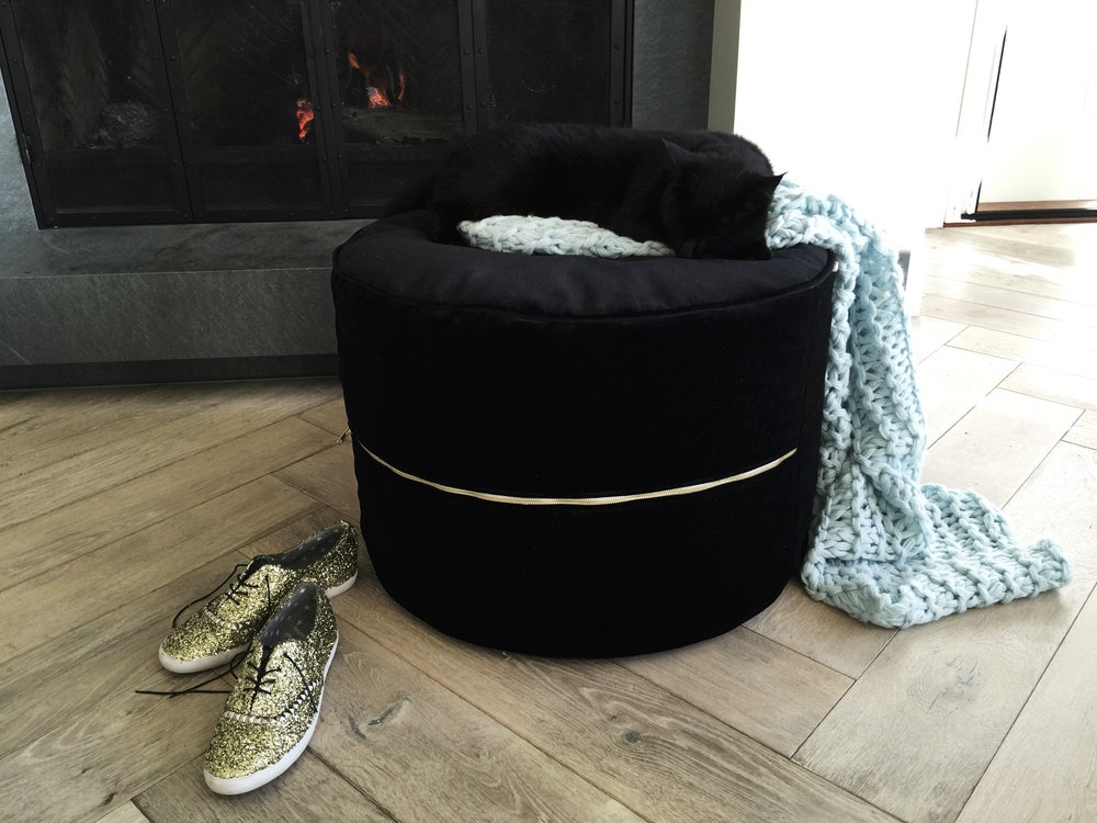 Image of Lavish Velvet Round Floor Seating / Ottoman (inc gst) 2016 collection