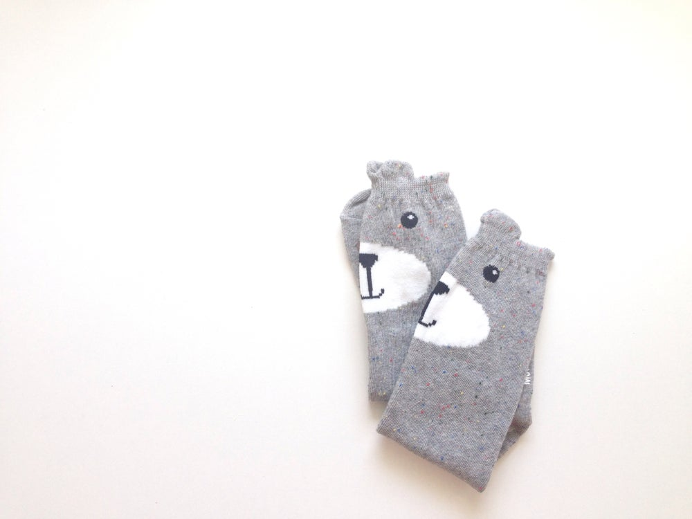 Image of Grey Confetti Bear Knee Socks