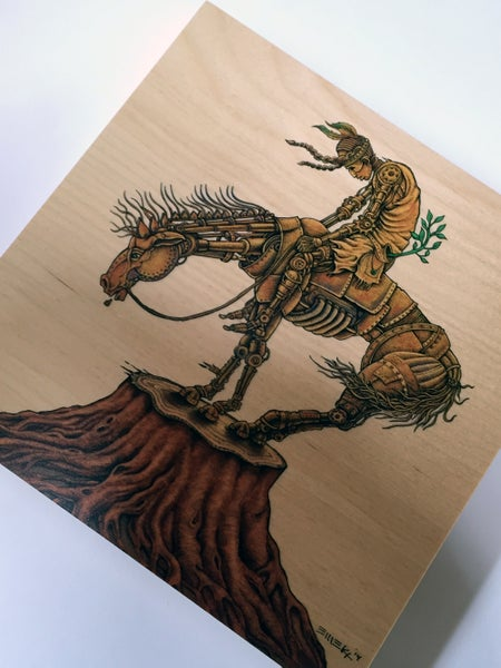 Image of End of Trail Print on Wood by Emek