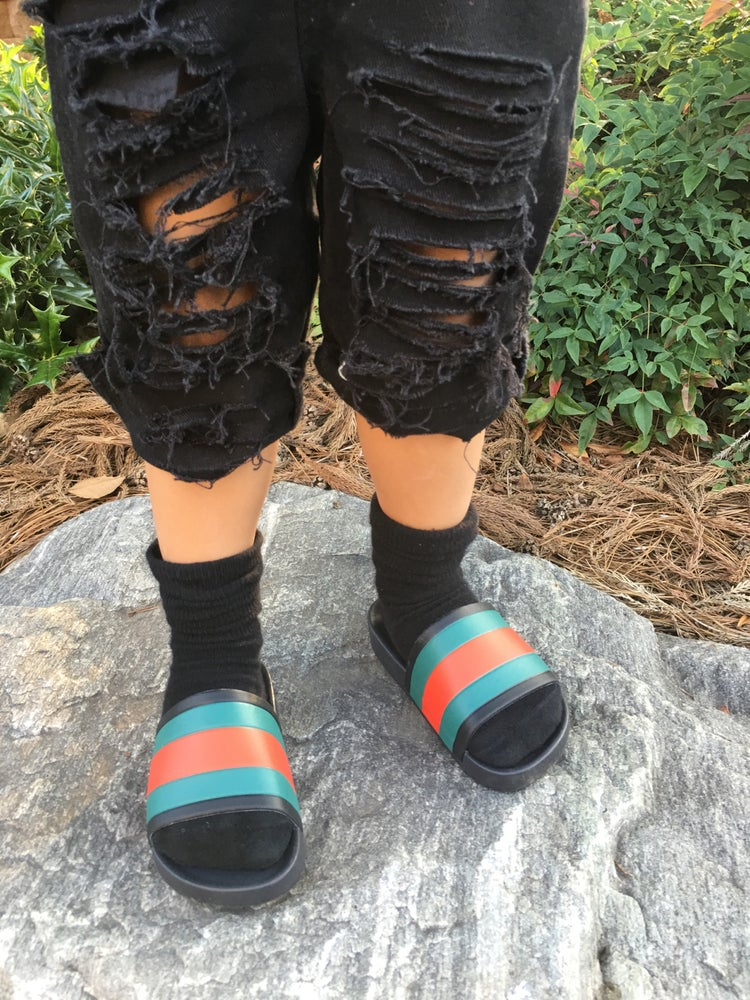 Image of Black super distressed jeans or shorts