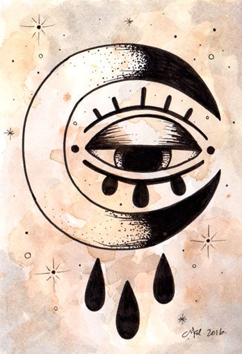 Image of eye see the moon