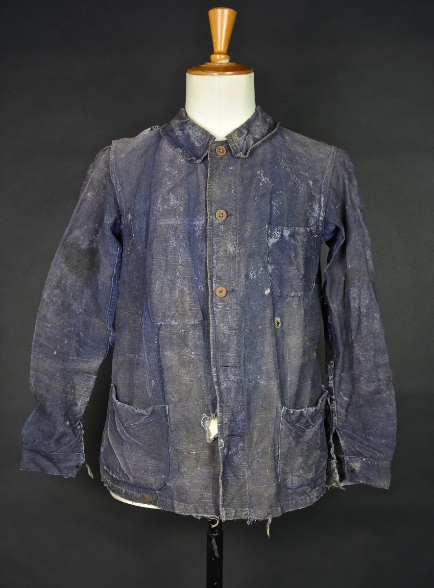 Big Blue Auto >> 1930'S FRENCH BLUE indigo linen WORK JACKET FADED & DISTRESSED | bazardespoilus