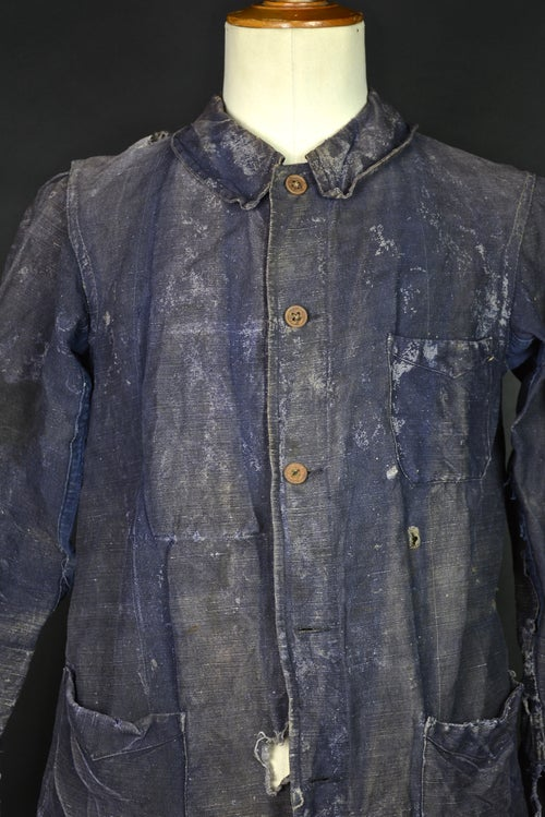 Image of 1930'S FRENCH BLUE indigo linen WORK JACKET FADED & DISTRESSED
