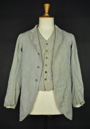Image of 1900'S FRENCH STRIPPED JACKET & WAISTCOAT