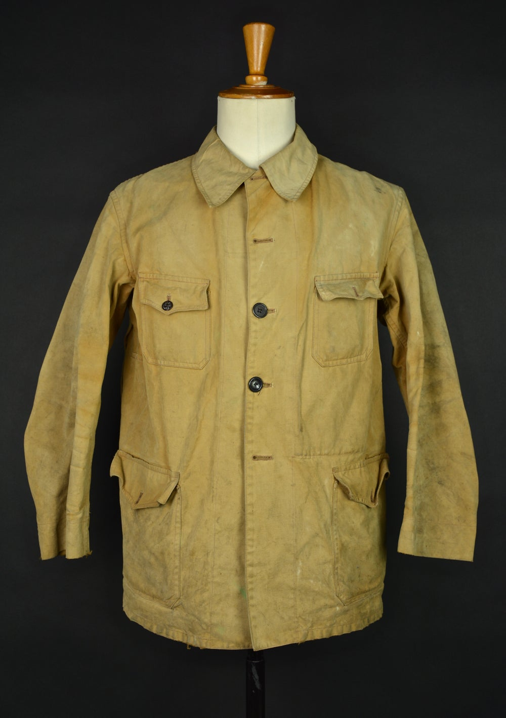 Image of 1950's FRENCH HUNTING BEIGE LINEN/COTTON JACKET