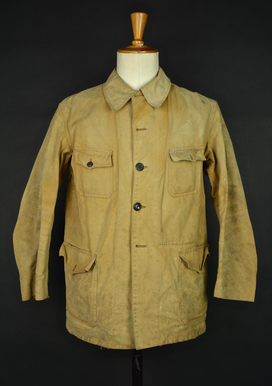 Image of 1950's FRENCH HUNTING LINEN/COTTON JACKET コットンリネンハンティングジャケット