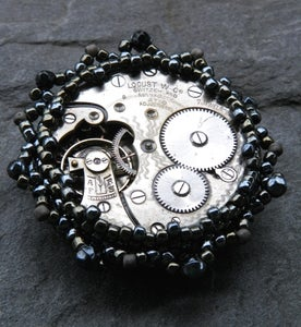 Image of Steel Time, handmade brooch