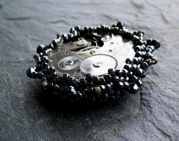 Image of Steel Time, handmade brooch