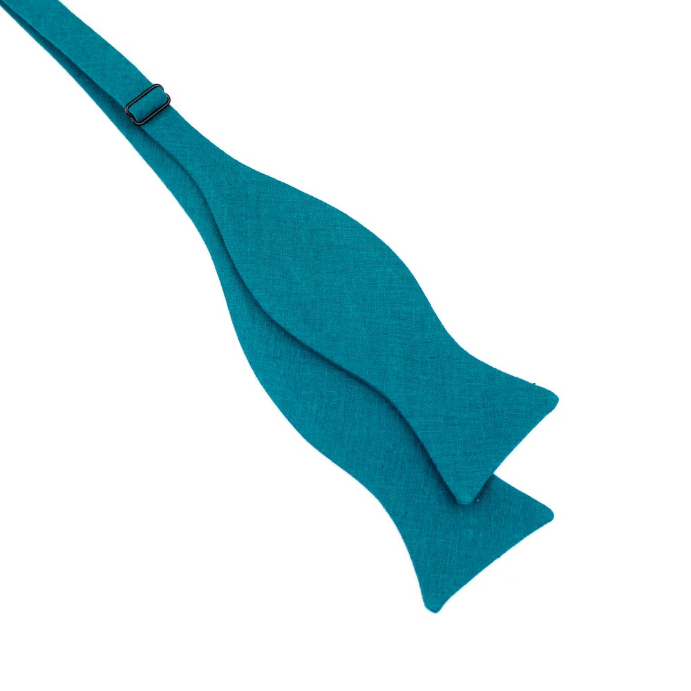 Image of Teal Linen Bow Tie