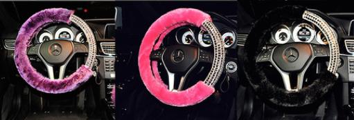 Fur Diamond Fluffy Steering Wheel Covers 1 Piece