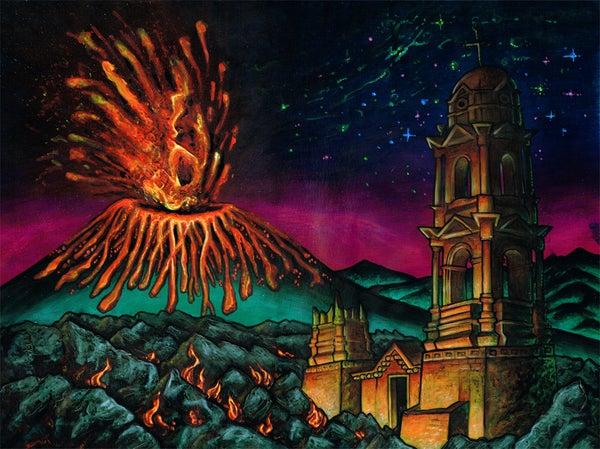 "Image of 'Parícutin: Volcano"" Original 24x19inch Painting"