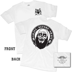 "Image of GRAVE BEFORE SHAVE ""WHITE"" Zombie Beard Tee"