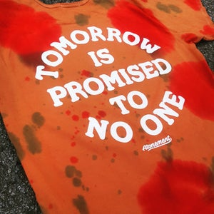 "Image of The ""Tomorrow Is Promised To No One"" Scallop Tee in Rust Red/Orange"