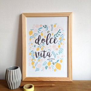 "Image of Poster floral and lemon illustration, lettering ""dolce vita"""