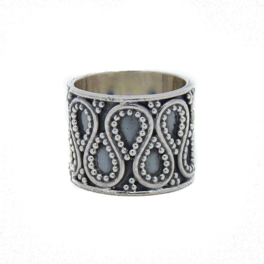 Image of Sterling Silver Chunky Beaded Swirl Ring