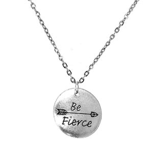 Image of Be Fierce Token Charm Necklace