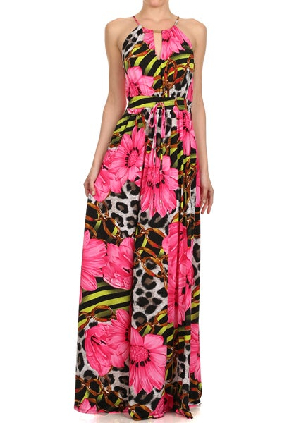 Image of LONG PINK DRESS WITH FLOWERS