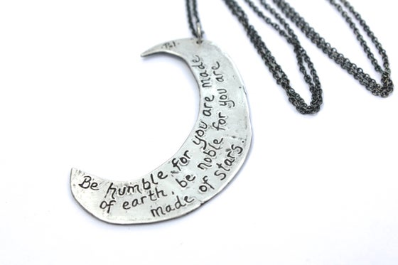 Image of large crescent moon necklace . sterling silver by peacesofindigo N-21
